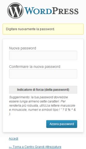 Immagine del form per azzerare la vecchia password e creare la nuova password