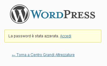 Form di conferma della creazione della nuova password.