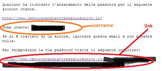 Testo dell'email per azzerare la password