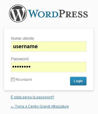 Form per accedere al sito con la nuocva password