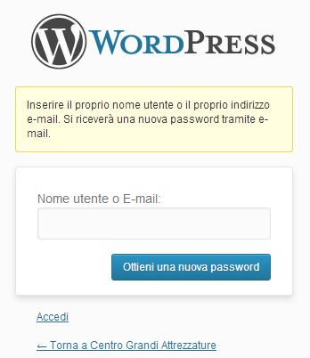 Immagine del formper richiedere lo username e creare una nuova password